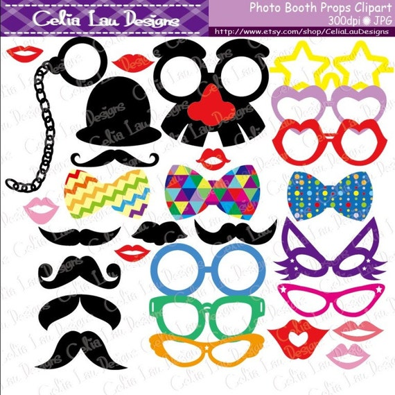 Clip Art Photo Booth Clip Art mustache clipart photo booth props hats and by celialaudesigns spectacles diy printable party
