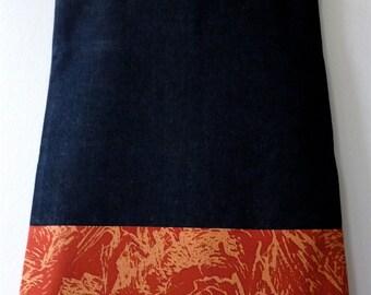 Red Orange Mountain Village Vintage Japanese Kimono Silk and Denim Tote Bag