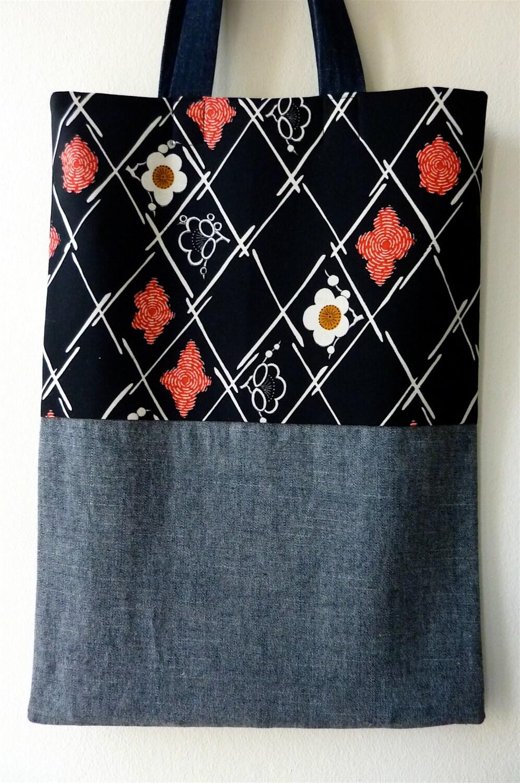 Black Red White Sakura Vintage Japanese Kimono Wool And Denim