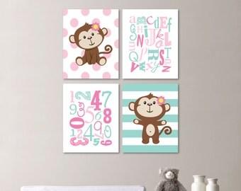 Baby Girl Nursery Art - Monkey Nursery - Monkey Bedroom - Monkey Decor - Monkey Art - Monkey Print - Alphabet. Robins Egg Blue Pink (NS-561)