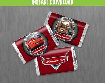 Disney Cars Birthday Mini Chocolate Wrappers - Instant Download and Edit with Adobe Reader