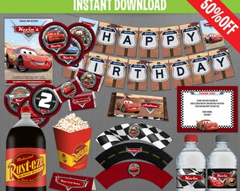 Disney Cars Birthday Party Collection - Instant Download and Edit with Adobe Reader