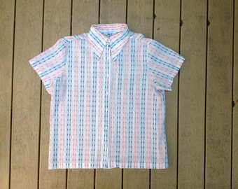 Vintage 70's Red, White, and Blue Mens Button Down Shirt. 1970's Sears Perma Prest Thin Summer Top. Large.