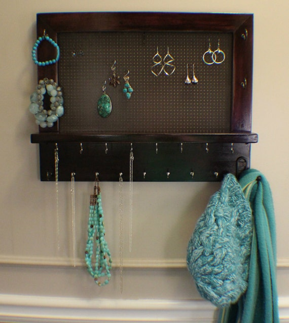 Jewelry Organizers Wall: Stained Wall Mounted Jewelry Organizer Wall Organizer