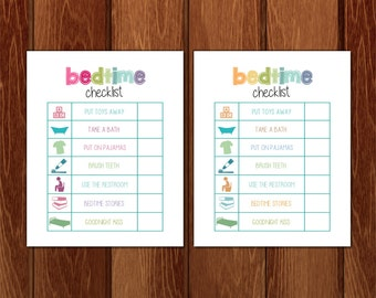 Bedtime checklist printable, Instant Download