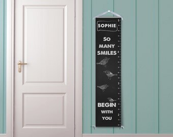 So Many Smiles Begin With You - Personalized Chalkboard Growth Chart for Kids