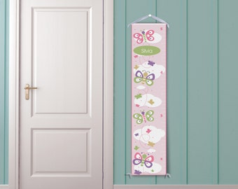 Butterflies on Pink - Personalized Growth Chart