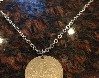 Mexico 20 pesos coin necklace