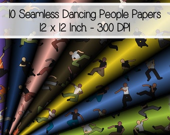 10 Seamless Digital Happy Dancing Party People Patterned Papers 12 x 12 Inch. 300 DPI