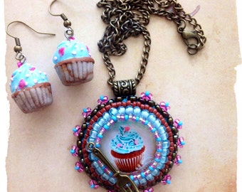 Very cute bright blue cupcake Pendant and Earrings