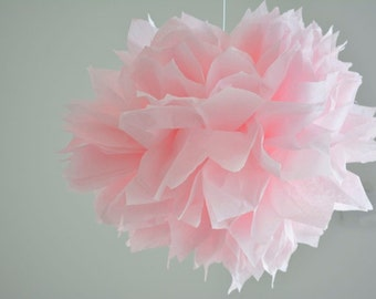 1 paper flower pom pom -- Xl-- pink lace -- party decoration