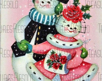 Retro Ice Skating Snowman Couple Christmas Card #36 Digital Download