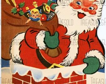 Retro Santa in Chimney Christmas Card #54 Digital Download