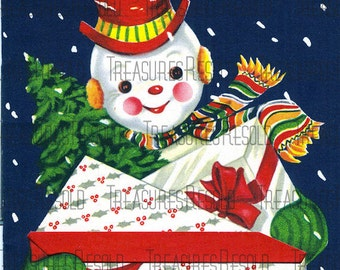 Retro Snowman With Presents Christmas Card #108 Digital Download