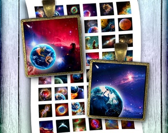 Nebula Space - Digital Collage Sheet 1 inch Images Printable Square Images for Pendants - Instant Download