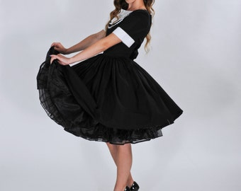 Retro Dress - Rockabilly Dress - Pinup Dress -  50s Style Dress - Pin Up Dress - Tuxedo Dress - Sock Hop Dress - Custom Size including Plus