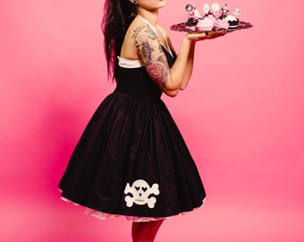 Black Halter Dress - Skull Dress - Pin Up Dress - Gothabilly Dress - Rockabilly Dress - Goth Dress -  Gothic Dress - Custom Size