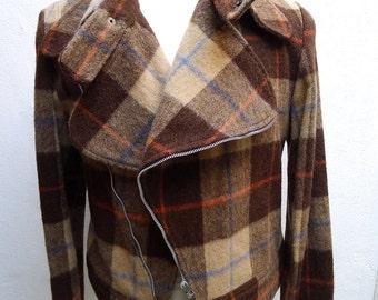 Vtg Wool Flanel motorjacket size S - M