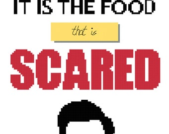 Parks and Recreation Cross Stitch Pattern PDF. When I Eat it is the food that is scared Ron Swanson quote TV, Geek, Funny, Pop Culture, Cult