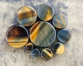 Blue Tiger's Eye Stone Plugs - Double Flared - 1 Pair - 6mm - 8mm - 10mm - 11mm - 12.7mm - 14mm - 16mm - 19mm - 22mm - 25mm - Organic