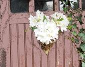 Rustic French Wall Pocket / Handmade Vine Cone / Twig Basket / Woodland Wedding / Farmhouse Chic