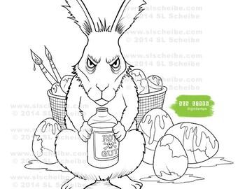 Digital stamp, Easter Bunny, Grumpy Bunny, instant download
