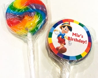 Pinocchio Personalized Mini Lollipops