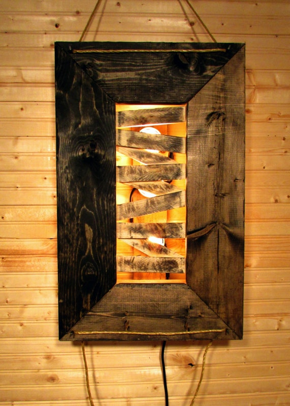 items similar to handmade reclaimed wood and pallet wood light fixture. Black Bedroom Furniture Sets. Home Design Ideas