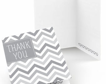 Chevron Gray Thank You Cards - Baby Shower Thank You Cards - Birthday Thank You's - Bridal Shower Thank You - Set of 8 Folding Note Cards