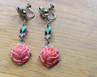 Art Deco Screw Back Earrings with Glass Coral Roses