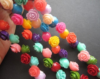 Free Shipping Coral Rose Flower 12mm 15mm Cabochon beads Mix Color   JC098/ 30pcs