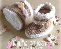 Knitting PATTERN Fur Trim Baby Boots (Knitting Instructions) Baby Boy Boots, Baby Girl Boots. Bootees, Booties, Boots. Newborn Boots PDF