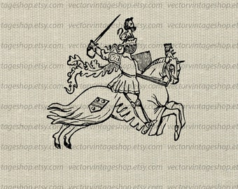 Medieval Knight Clipart Vector Graphic Instant Download Clip Art, Caparisoned Horse, Printable Victorian Illustration WEB1699AH