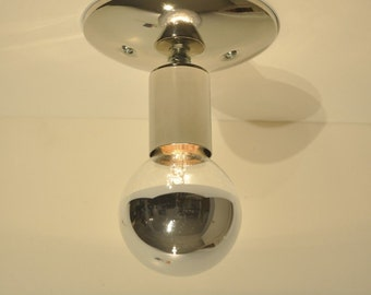 Chrome Ceiling Mounted Light Fixture Rustic Industrial Vintage Polished Nickel