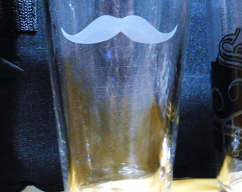 Mustache Pint Glass, Etched Glass