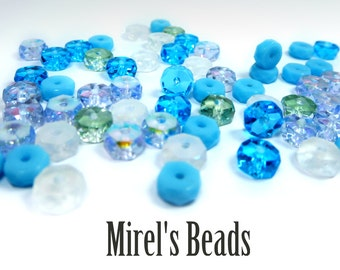 120 pcs Rondelle Bead Mix, Blue and White Czech Glass Bead Mix, 3x6mm