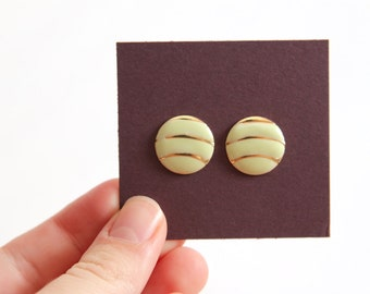 Round Vintage Lime Green Post Earrings with Gold Details