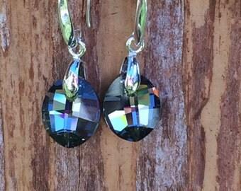 Silver Night Swarovski Earrings, Black and Silver Leaf Pendant on Sterling Silver Hooks, 14mm Oval Crystal Earrings
