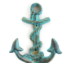 Anchor Hook- Shabby Chic Hook - Nautical Anchor Hook- Nautical Nursery Hook - Nautical Nursery Decor - Shabby Chic Wall Hook- Cast Iron Hook