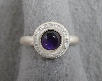 Amethyst and Sterling Ring, Valentines Day, February birthstone, organic hand forged setting Alabama silversmith, US size 7.25 ready to ship