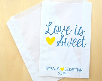 Love is Sweet Wedding Buffet Favor Bags ~ Candy Buffet Bags, Candy Bags, Treat Bags, Candy Bar Buffet Bag, Paper Bags