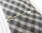 Arrow Tie Bar- Arrow Tie Clip- Gifts For Men- Silver Silver or Antiqued Brass Finish