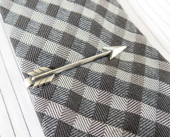 Cyber Monday Sale- 20% Off- Arrow Tie Bar- Arrow Tie Clip- Gifts For Men- Silver Silver or Antiqued Brass Finish