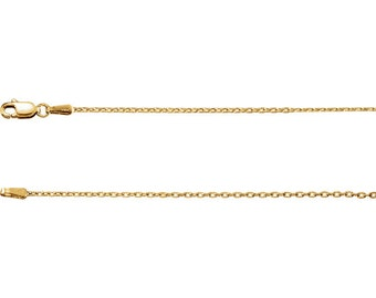 14K Solid Yellow Gold 1.5 mm Cable Necklace Chain Lobster Clasp 16 inches CKLCH1019.1006.P