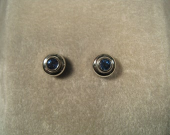 Blue Sapphire and Platinum Earrings