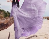 purple dress  maxi dress  Boho dress layered dress   beach dress maxi dress Royal summer dress maxi dress  chiffon dress N-199