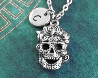 Sugar Skull with Hair Necklace, Day Of The Dead Charm, Personalized Necklace, Dia de los Muertos Necklace Skull Necklace Calavera Keychain