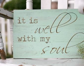 "It is well with my soul, Christian wall art, Christian home decor, Hymn wall art, Hand painted wood sign, Hymn, Measures 10.5"" x 16"""