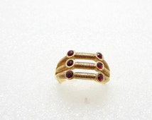 18 KT Gold Plated Ring Faux Ruby Twisted Gold Design Signed Vintage Costume Jewelry Wire Wrapped Christmas Gift Idea