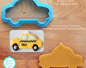 Taxi and Police Car Cookie Cutter and Fondant Cutter - **Guideline Sketch To Print Shown Below**
